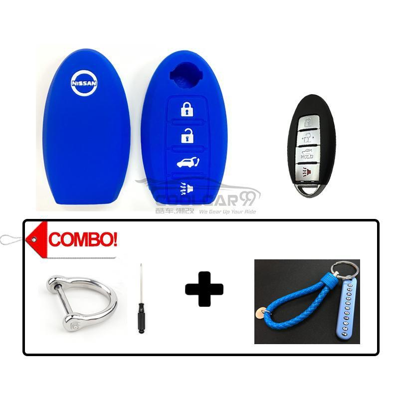 Silicone Key Cover COMBO-BLUE Nissan Almera / Livina / Sylphy / Teana Silicone Key Case Cover