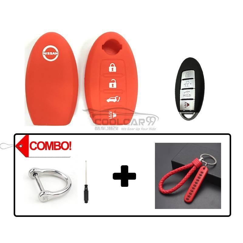 Silicone Key Cover COMBO-RED Nissan Almera / Livina / Sylphy / Teana Silicone Key Case Cover