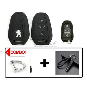 Silicone Key Cover COMBO-BLACK Peugeot 208 / 308 / 2008 / 3008 / 5008 Silicone Key Case Cover