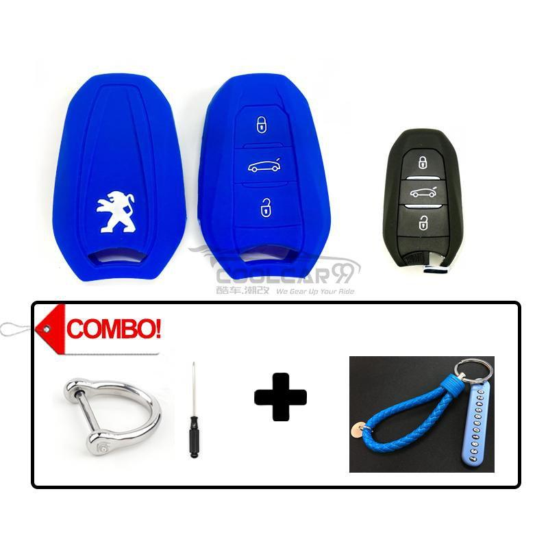 Silicone Key Cover COMBO-BLUE Peugeot 208 / 308 / 2008 / 3008 / 5008 Silicone Key Case Cover