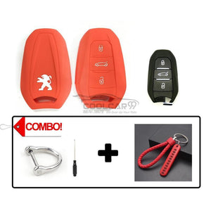 Silicone Key Cover COMBO-RED Peugeot 208 / 308 / 2008 / 3008 / 5008 Silicone Key Case Cover