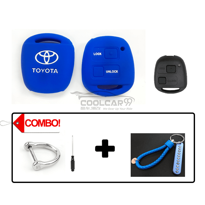 Silicone Key Cover COMBO-BLUE Toyota Alphard AH10 2002-2008 Silicone Key Case Cover
