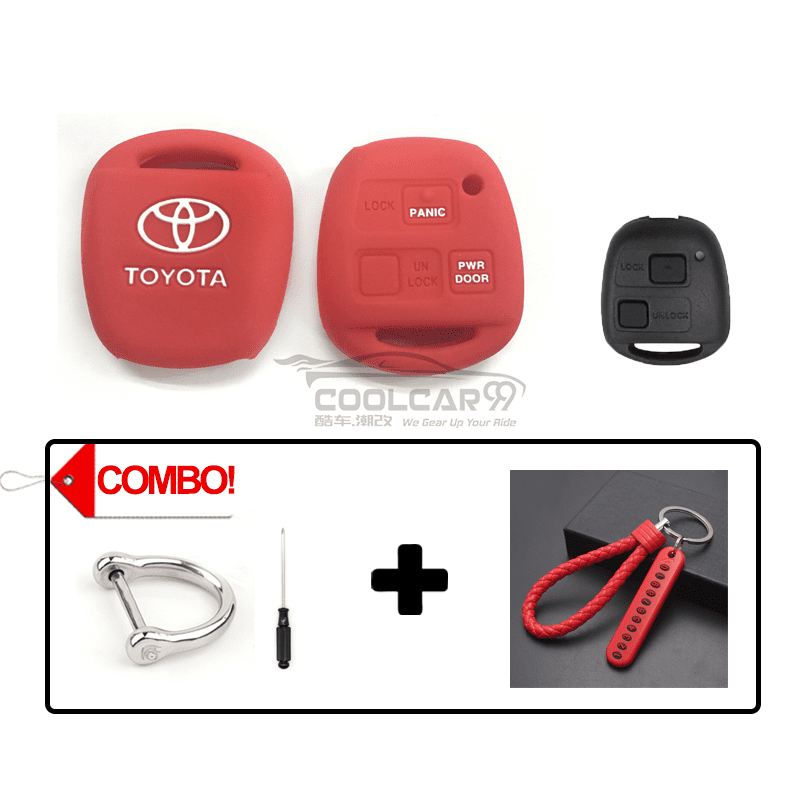 Silicone Key Cover COMBO-RED Toyota Alphard AH10 2002-2008 Silicone Key Case Cover