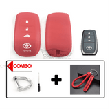 Silicone Key Cover COMBO-RED Toyota Camry / Camry Hybrid / Fortuner Silicone Key Case Cover