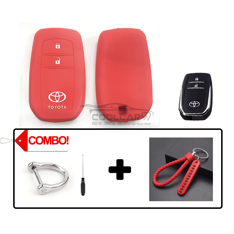 Silicone Key Cover Red Combo Toyota Hilux Revo / New Innova Silicone Key Case Cover