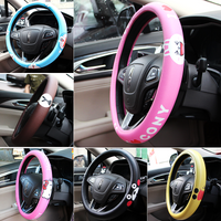 Steering Cover Black Bear Cute Cartoon Steering Wheel Cover Leather Steering Cover