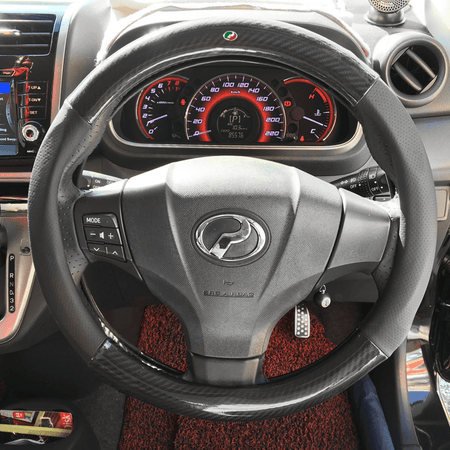 Steering Cover Non-Color Perodua Carbon Fiber Leather Steering Cover