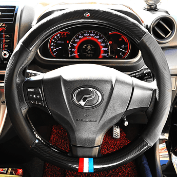 Steering Cover Carbon Perodua Carbon Fiber Leather Steering Cover