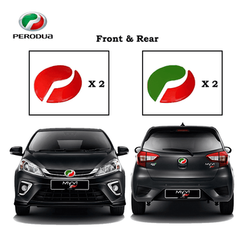 Sticker ALZA / RED & RED Perodua Alza Axia Viva Bezza Myvi Red & Green Logo Sticker