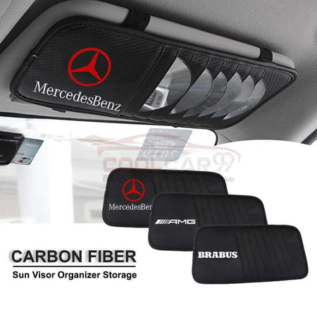 Sun Visor Disc Holder Carbon Fiber Mercedes BENZ AMG BRABUS Sun Visor Disc Holder Organizer Storage
