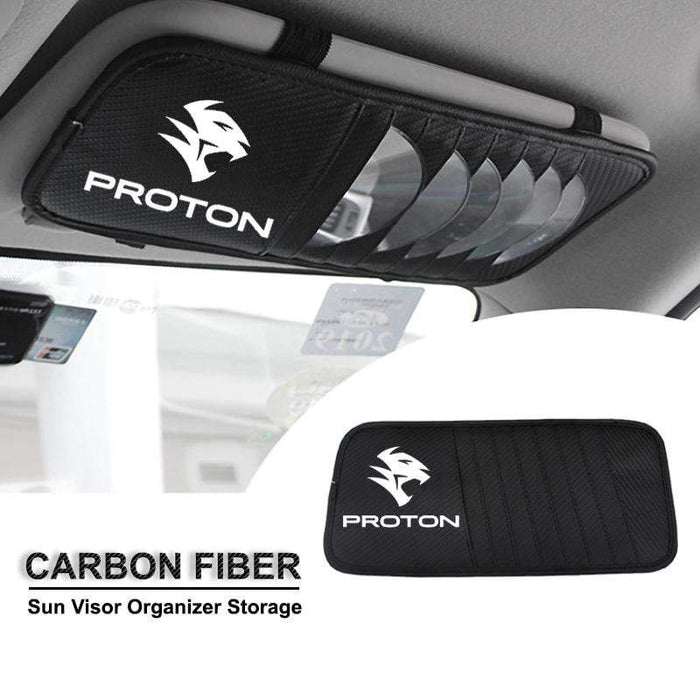 Sun Visor Disc Holder Proton Carbon Fiber PROTON Sun Visor Disc Holder Organizer Storage