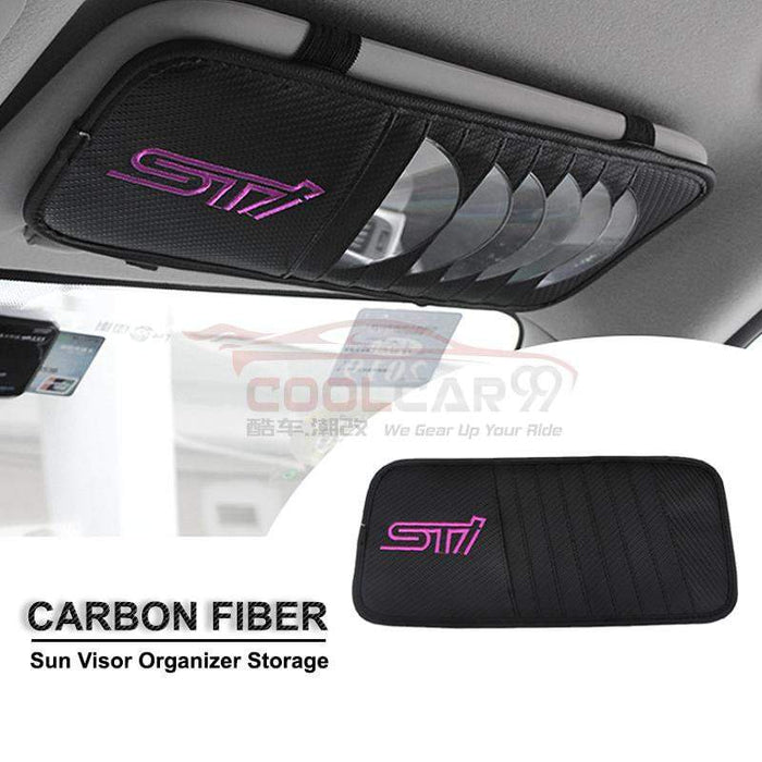 Sun Visor Disc Holder Suzuki Carbon Fiber SUBARU STI Sun Visor Disc Holder Organizer Storage