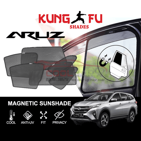 Sunshade 4 Pcs PERODUA Aruz KUNG FU SHADES Fully Magnetic Sunshade 4/6 PCS