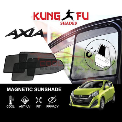 Sunshade Axia PERODUA Axia KUNG FU SHADES Fully Magnetic Sunshade 4 PCS