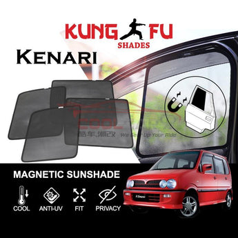 Sunshade Kenari PERODUA Kenari KUNG FU SHADES Fully Magnetic Sunshade 4 PCS