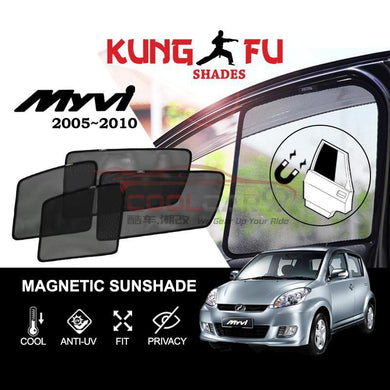 Sunshade MYVI 05-10 PERODUA Myvi 05-10 KUNG FU SHADES Fully Magnetic Sunshade 4 PCS