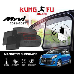 Sunshade Myvi 2011-2017 PERODUA Myvi 2011-2017 KUNG FU SHADES Fully Magnetic Sunshade 4 PCS