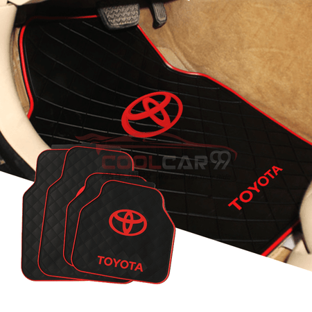 Red TOYOTA Car Carpet Latex Floor Mats Foot Mats 5Pcs