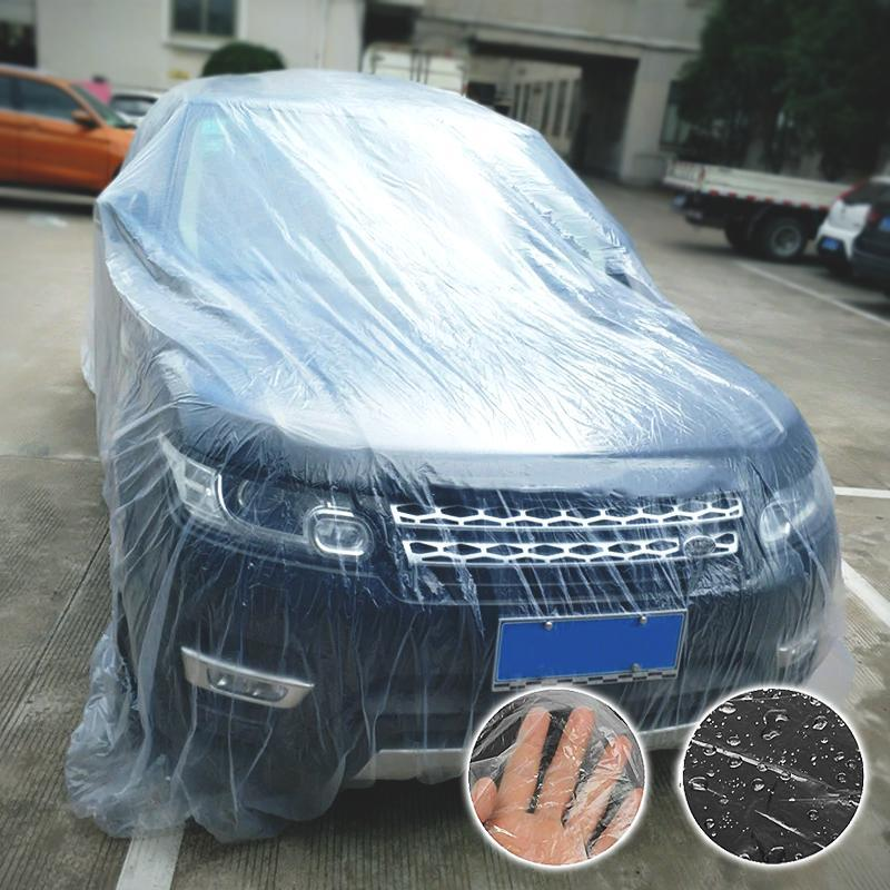 Transparent Car Cover Plastic Cover Protection Resistant Waterproof Rain Dust