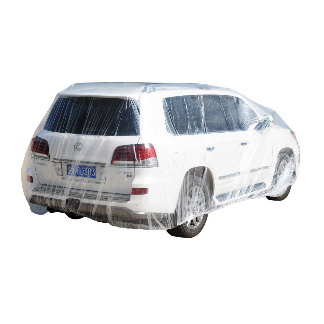 M (3.5m x 6m) Transparent Car Cover Plastic Cover Protection Resistant Waterproof Rain Dust