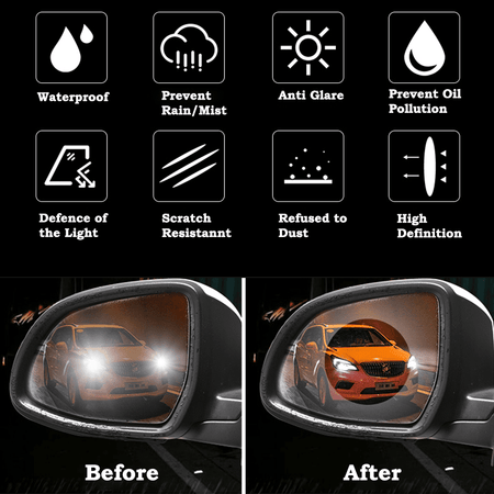 Windscreen Care Rectangle Anti-Fog Film Rear View Mirror Side Window Waterproof Membrane