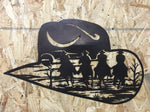 Western Hat with Riders inset into Hat, 14 ga Metal Wall Art CNC Plasma Wall Art