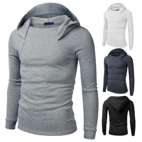 Trend Solid Color Personality Men's Casual Hooded
