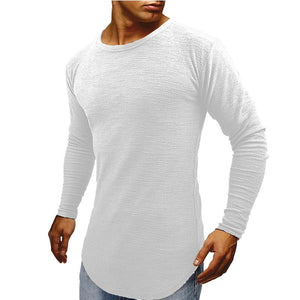 Men's Slim T-Shirt Explosion Men's Long Sleeve Top Round Neck Arc Hem Long Sleeve T-Shirt