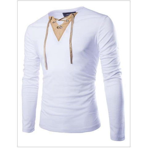 Suede Stitching V-Neck Long Sleeve