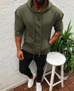 Casual Loose Plain Hoodie With Hat
