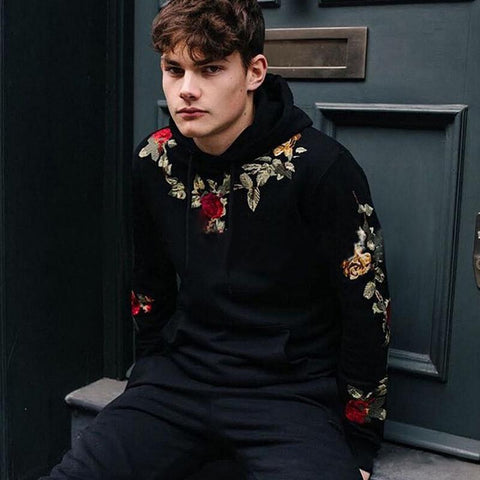 New Flower Embroidery Men's Hoodie