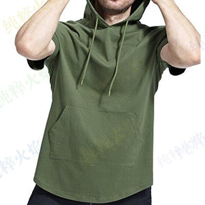 Hooded Zip Long Round Neck Solid   Color Short-Sleeved T-Shirts