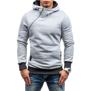 Solid Color Diagonal Zipper   Large Size Men's Hoodie