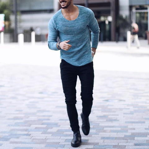 Fashion Pure Colour Slim Fit Long Sleeve T-Shirt