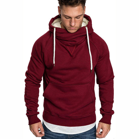 Fashion Pure Colour Stand Collar Hooded Sweatshirt