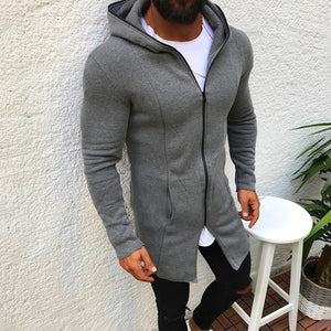 Casual Long Section Zipper Hooded Sweatshirt