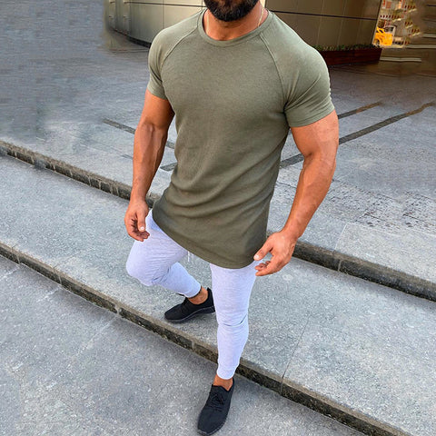 Men's Pure-Colored Round Collar Short-Sleeved Casual T-Shirts