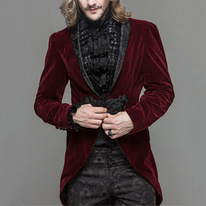 Fashion Punk Goth Wind Flat Velvet Slim Suits