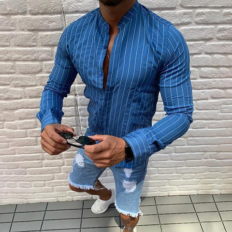 Men's Stand Collar Long Sleeved Fine Striped Casual Shirt
