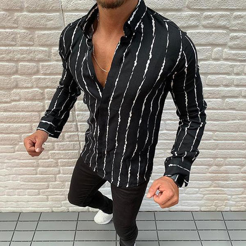 Casual Men's Lapel Single-Breasted Long Sleeve Stripe Shirt.