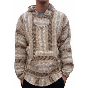 Casual Striped Splicing Long Sleeves Baja Hoodie