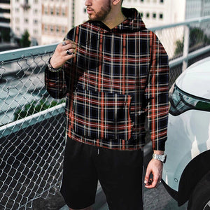 British Style Check Big Pocket Hooded Sweatshirt