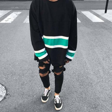 Simple Casual Contrast Color Stripe Sweatshirt