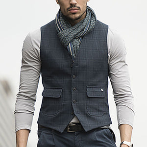 Commuting Plaid Single-Breasted Vest