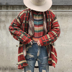 Fashion Contrast Color Loose Knit Jacket