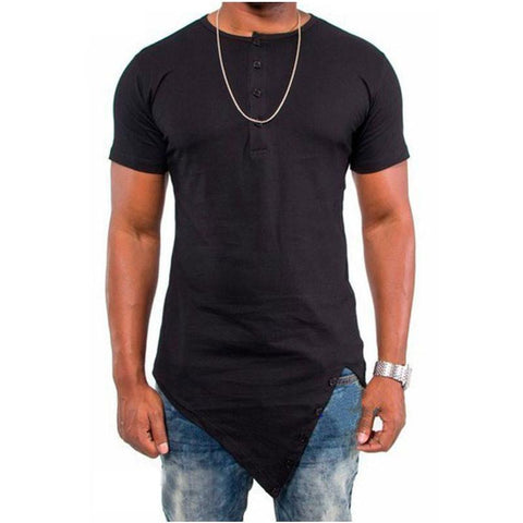 Irregular Short Sleeve Men's T-Shirt Hip Hop Street Dance