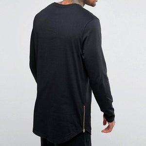 Men's Long Sleeve Side Zip T-Shirt