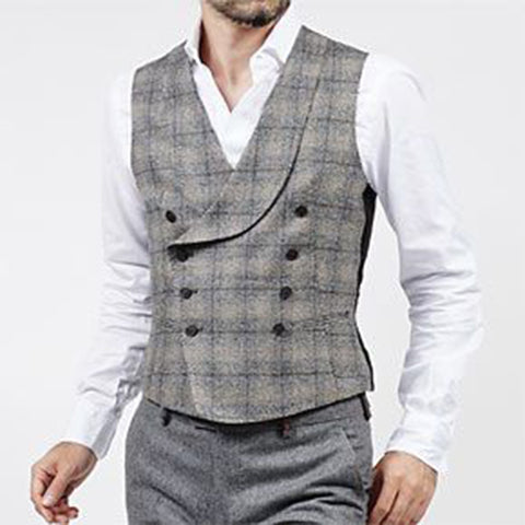 Vintage Double-breasted Shawl Collar Check Vest