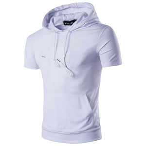 Men Casual Straight Hooded T-Shirt
