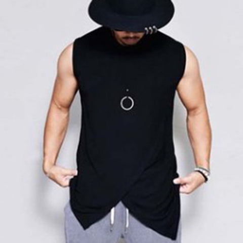 Men Solid Color Irregular Sleeveless T-Shirt